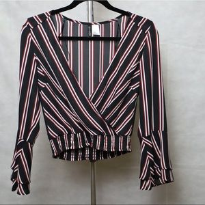 Black with red and white stripes cropped blouse